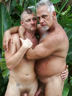 Dick sucking and ass fucking gay daddies outdoors after a soak in the hot tub