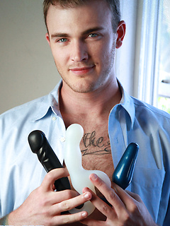 Toy loving gay model Christian Wilde plays with his plugs and strokes his boner