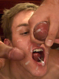 Gay cumshot compilation with bottoms opening wide for hot loads on their tongues