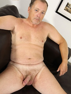 Solo gay daddy James strips and strokes his stiff and sexy dick