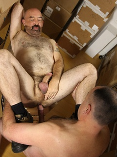 Daddies in the warehouse take a break from work to fuck each other bareback