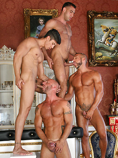 Four flawlessly muscular bodies sizzle in a great cocksucking gallery