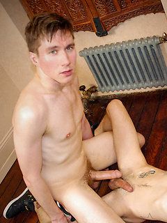 Cute guys fuck on the first date with oral and anal on the hard wood floor