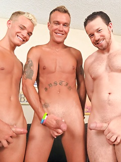 Three horny guys use their hands in order to make their pulsating cocks explode