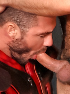 Hunky sex in the locker room with two guys in shoulder pads