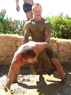 Gay hunks spend a day playing outdoors and end it with a wild anal orgy