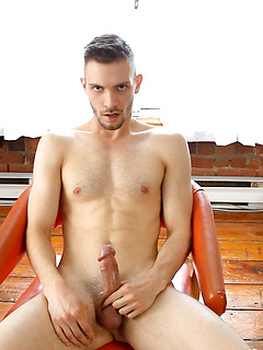 Solo gay guy takes off the clothes so he can play with his hard pecker