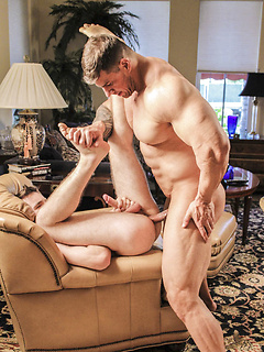 Strong dude Zeb Atlas makes a friend moan loudly by drilling his tight butt