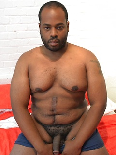 Ebony fatty and a furry white bear get to pleasure each other's throbbing cocks