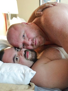 Fat guys in bed suck dick and the bottom takes a hard anal pounding