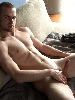 Solo blue eyed amateur cutie strokes his cock up and down and the head drips precum