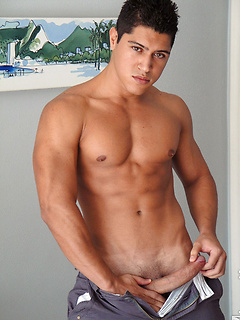 Handsome gay guy likes to strip down and play with his long fat pecker