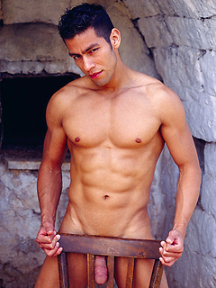 Muscular Latino stallion Ricky Martinez strips down in a rather sensual manner