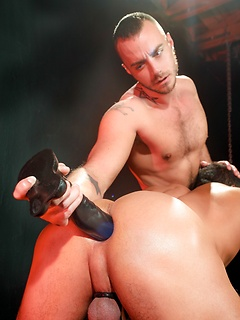 Two muscular dudes Jessie and Angelo drill their tight assholes with big toys