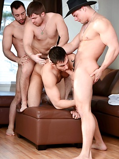 Four gay buddies with burly bodies fucking each other in a wild orgy