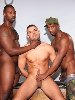 Dominant black military men strip the prisoner naked and fuck him from both ends