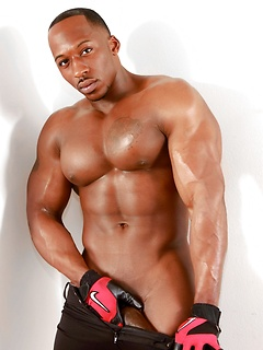 Strong dude Derek Jackson slowly strips down and shows off his huge pecker