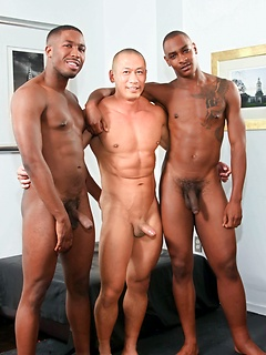 Three horny gay guys take turns at fucking each other's butts until they cum