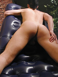 Ripped twink Bart busts a nut outdoors on the patio.