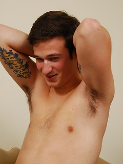 Playing with his stiff hairy dick is what this tattooed guy likes the most