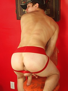His red jock strap is super cute and his smooth body is sexy during stroke pictures