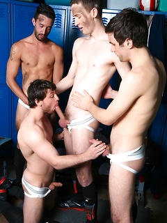Steaming hot blowgang session with four horny and hung football players