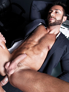 Stunningly hunky coworkers with ripped bodies lick and fuck ass after hours