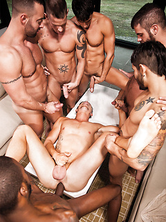 Jed Athens and a bunch of ripped stallions have an intense homosexual orgy