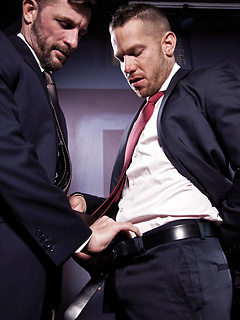 Two gay boss Morgan Black and Shane Frost have anal sex in a suit