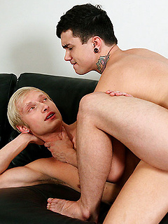 Tattooed gay boys Jake Bass and Max Carter have balls deep bareback anal sex