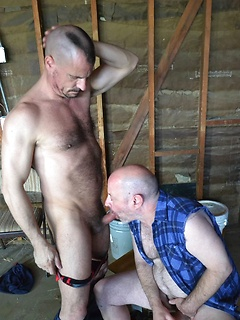 Gay daddy gives a hot blowjob and his ass gets fucked full of cock