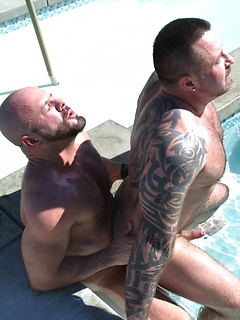 Daddy bears blow each other in the pool and have fantastic anal sex