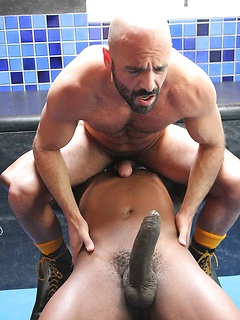 Monstrous black dick barebacks a white bear bottom in the locker room