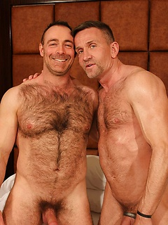 Sexy gay daddies with hairy chests and hunky bodies get wild in a fuck set