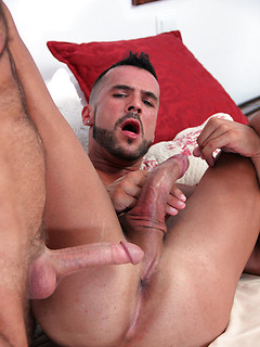 Bottom with a beard and a very hairy chest experiences bliss with cock in his ass