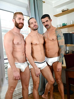 Insanely hot gay threesome with stallions Tony Axel, Joe Gunn and Geoffrey Paine