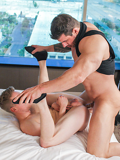 Zeb Atlas talked a friend into sucking his dick before drilling his tight butt