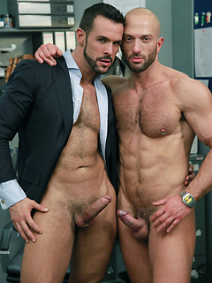 Sexy boss with hard abs feeds his big cock to his hot coworker and fucks him in the ass