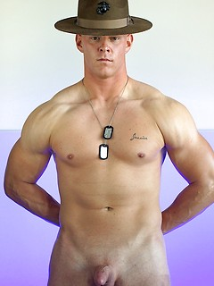 Rock hard Marine strips down to his dog tags and plays with his cock