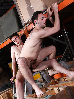 Gay warehouse workers take a break for a quick afternoon fuck with a huge cock