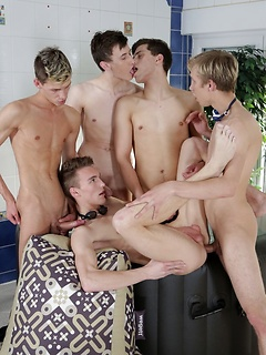 Four hard body boys with swimmer bodies abandon the hot tub for anal sex