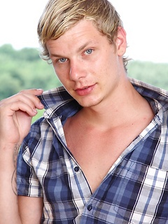 Blond twink boy Damion Diesel takes off his clothes for hot erotic pictures