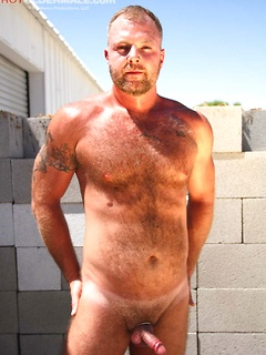 Hot and tanned daddy bear Josh Thomas shows his adorable body and pierced cock