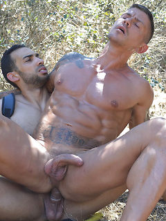 Naughty gay Goran sucks a long cock before he gets his ass fucked outdoors
