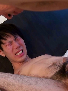 Bareback fucked Asian bottom boy plays with his little cock and cums hard