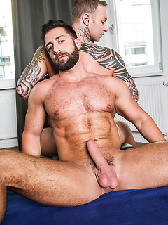 Tattooed Dylan James is a hot bottom for bearded top hunk Valentino Medici