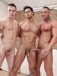 Three incredibly muscular stallions simply love making their schlong explode