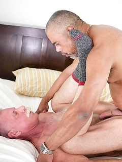 Interracial gay daddy fucking with a pair of big dick older guys flipping