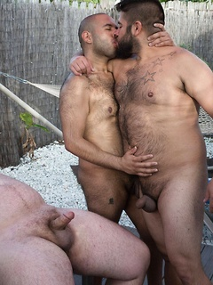Bear group sex outdoors with a trio of burly men with sexy bodies fucking
