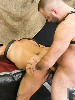 Amir Badri, Marcus Isaacs and Matthieu Angel have some kinky fun in the dungeon